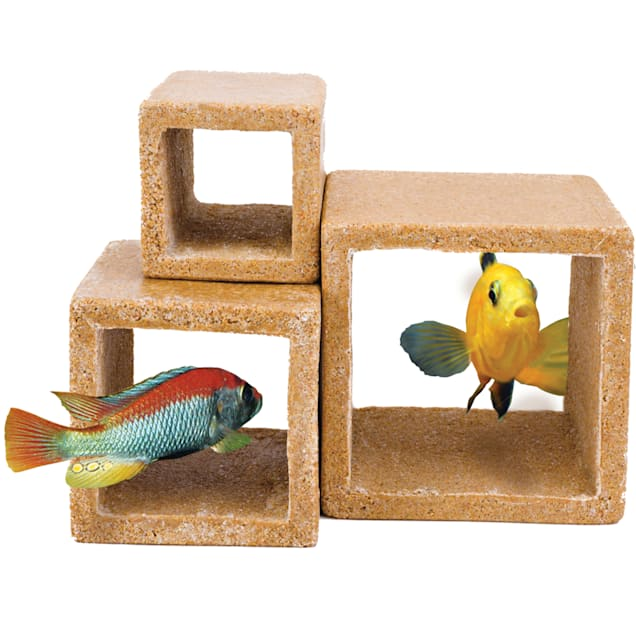 "Penn Plax Cube Hideaways, 4.25"" L X 4.5"" W, Pack of 3 - Carousel image #1"