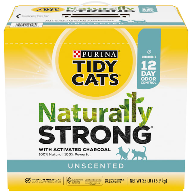 Tidy Cats Unscented Naturally Strong Clumping Multi-Cat Litter, 35 lbs. - Carousel image #1