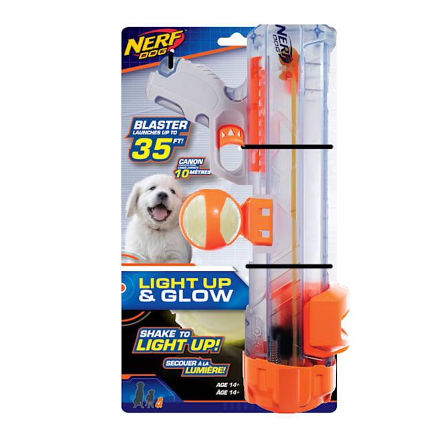Nerf Clear Blaster and Lightning LED Glow Ball Dog Toy, Large - Carousel image #1