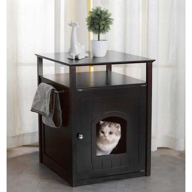 "Zoovilla Cat Washroom Litter Box Cover / Night Stand Black Pet House, 20.51"" L X 19.09"" W X 25.04"" H - Carousel image #1"