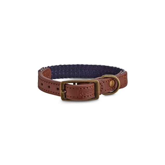 Reddy Indigo Chevron & Leather Dog Collar, XX-Small/X-Small - Carousel image #1