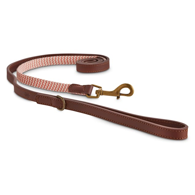 Reddy Pink Chevron & Leather Dog Leash, 6 ft. - Carousel image #1