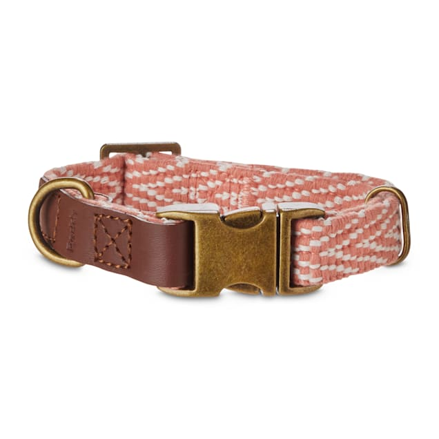 Reddy Coral Chevron & Leather Adjustable Dog Collar, Small - Carousel image #1