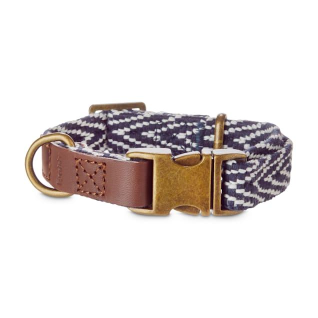 Reddy Indigo Chevron & Leather Adjustable Dog Collar, Small - Carousel image #1