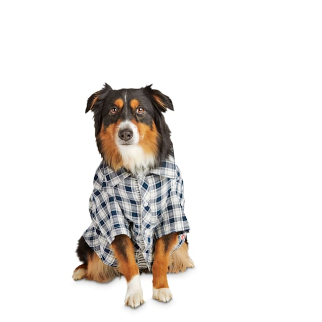 Reddy Navy & White Plaid Woven Dog Shirt, X-Large - Carousel image #1
