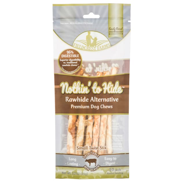 Fieldcrest Farms Nothin' to Hide Beef Stix Dog Chew, 65 Gram, Pack of 10 - Carousel image #1