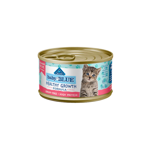 Blue Buffalo Baby Blue Healthy Growth Formula Natural Grain Free Salmon Recipe Kitten Pate Wet Food, 3 oz., Case of 24 - Carousel image #1