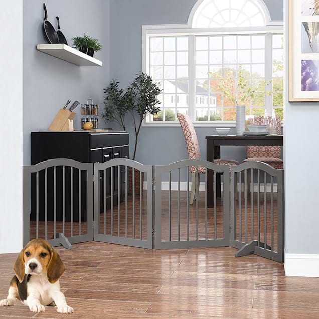 "UniPaws Arched Top Freestanding 4 panel Gray Dog Gate, 20""-80"" W X 24"" H - Carousel image #1"