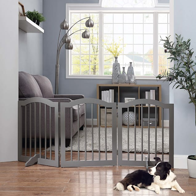 """UniPaws Arched Top Freestanding 3 panel Gray Dog Gate, 20""""-60"""" W X 24"""" H - Carousel image #1"""