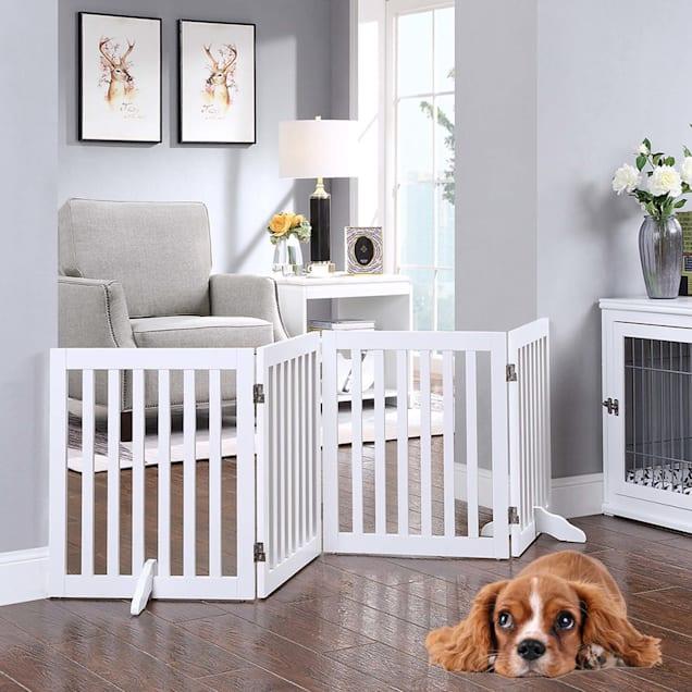 "UniPaws Flat Wooden Freestanding 4 panel White Dog Gate, 20""-80"" W X 24"" H - Carousel image #1"