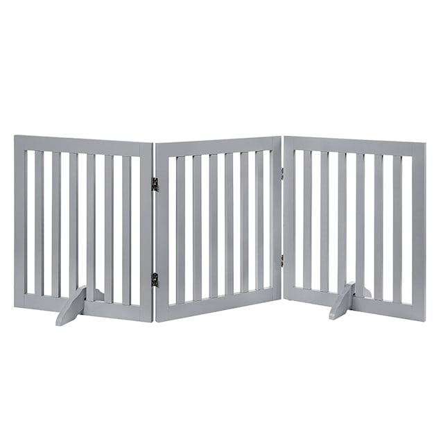 "UniPaws Flat Wooden Freestanding 3 panel Gray Dog Gate, 20""-60"" W X 24"" H - Carousel image #1"
