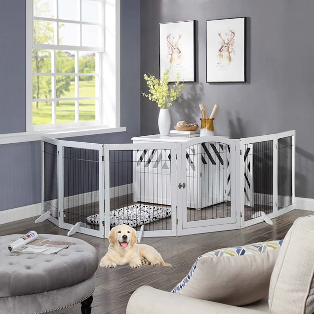 """UniPaws 6 Panels Pet White Gate with Wood Frame and Wire bars, 24""""-144"""" W X 32"""" H - Carousel image #1"""