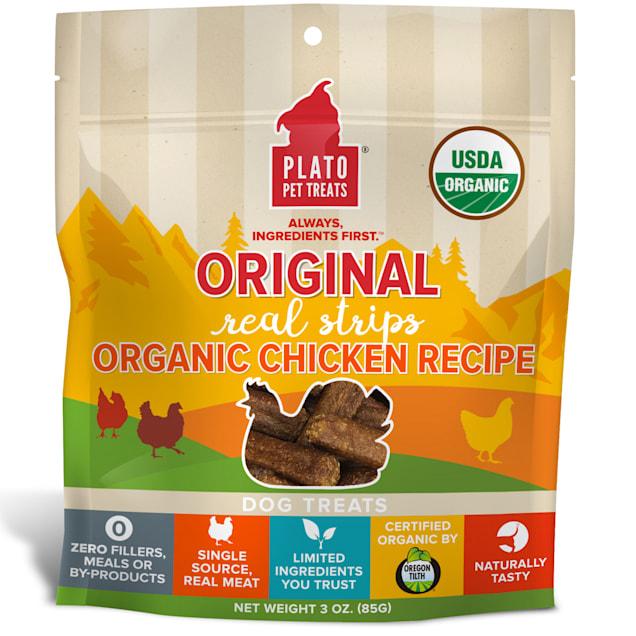 Plato Pet Made with Organic Chicken Strips Dog Treats, 3 oz. - Carousel image #1