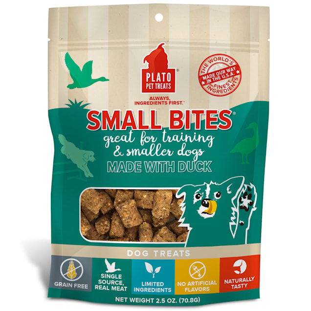 Plato Pet Grain Free Small Bites Made with Duck Dog Treats, 2.5 oz. - Carousel image #1