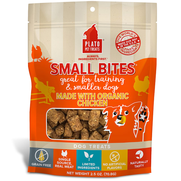 Plato Pet Grain Free Small Bites Made with Organic Chicken Dog Treats, 2.5 oz. - Carousel image #1