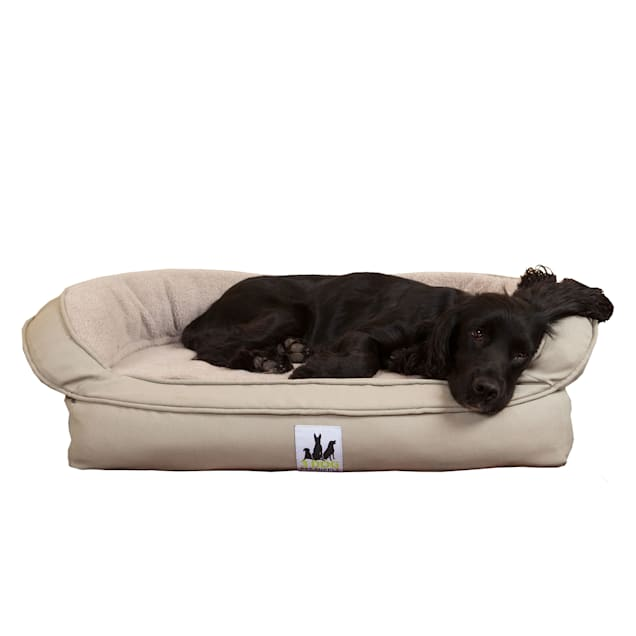 "3 Dog Personalized EZ Wash Memory Foam Fleece Bolster Grey Dog Bed, 32"" L X 21"" W X 9"" H - Carousel image #1"