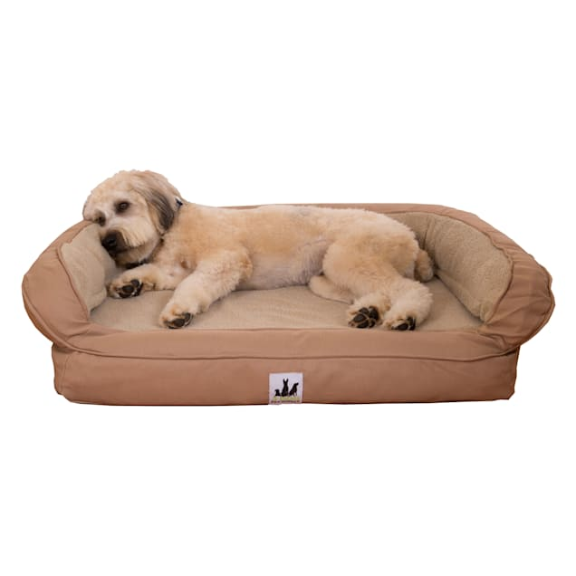 "3 Dog Personalized EZ Wash Fleece Bolster Tan Dog Bed, 32"" L X 21"" W X 9"" H - Carousel image #1"