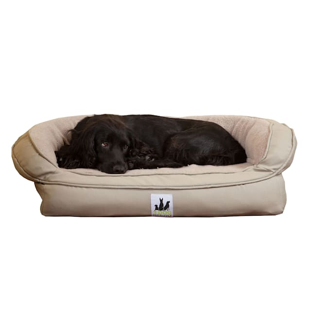 """3 Dog Personalized EZ Wash Fleece Bolster Silver Dog Bed, 32"""" L X 21"""" W X 9"""" H - Carousel image #1"""