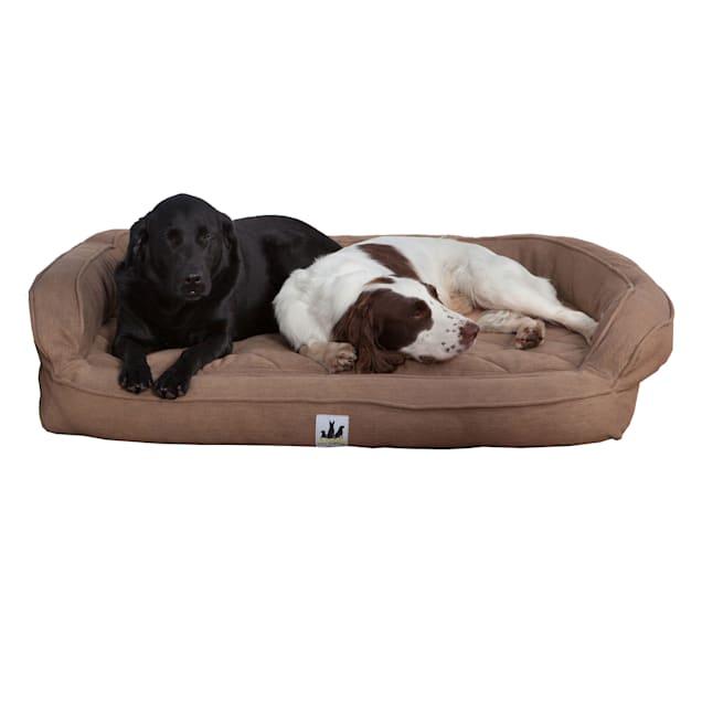 "3 Dog Personalized EZ Wash Premium Memory Foam Bolster Brown Dog Bed, 32"" L X 21"" W X 9"" H - Carousel image #1"