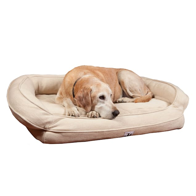 "3 Dog Personalized EZ Wash Premium Memory Foam Bolster Ivory Dog Bed, 32"" L X 21"" W X 9"" H - Carousel image #1"