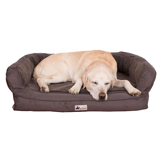 "3 Dog Personalized EZ Wash Fleece Bolster Grey Dog Bed, 32"" L X 21"" W X 9"" H - Carousel image #1"