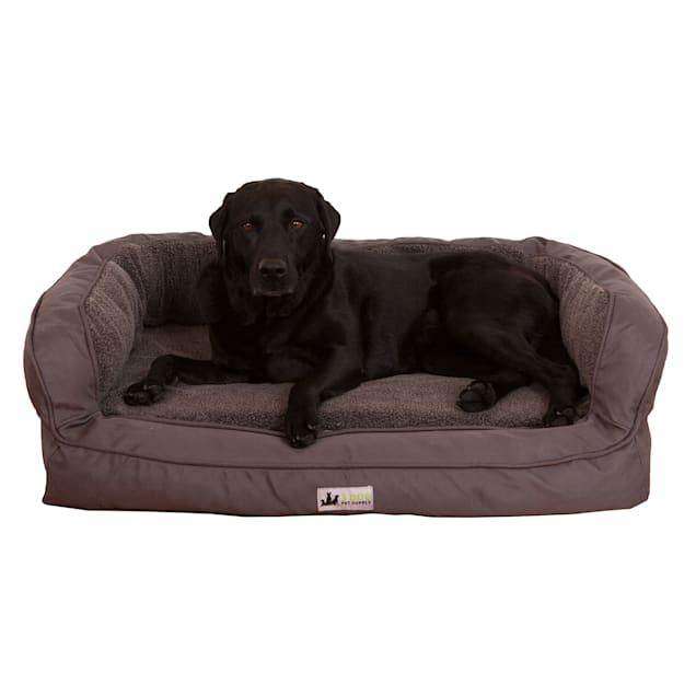 "3 Dog Personalized EZ Wash Memory Foam Fleece Bolster Dark Grey Dog Bed, 32"" L X 21"" W X 9"" H - Carousel image #1"