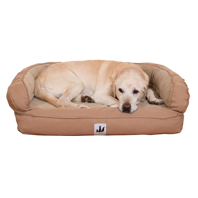 "3 Dog Personalized EZ Wash Memory Foam Fleece Bolster Tan Dog Bed, 32"" L X 21"" W X 9"" H - Carousel image #1"