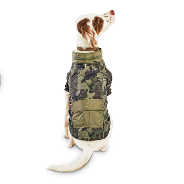 Reddy Olive Camo Zip & Stow Dog Windbreaker, X-Small - Carousel image #1