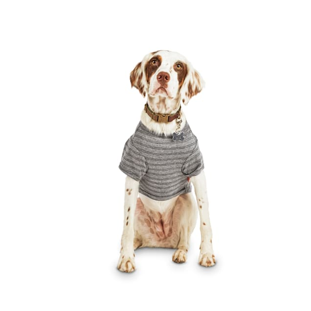 Reddy Grey Striped Jersey Crewneck Dog T-Shirt, X-Small - Carousel image #1