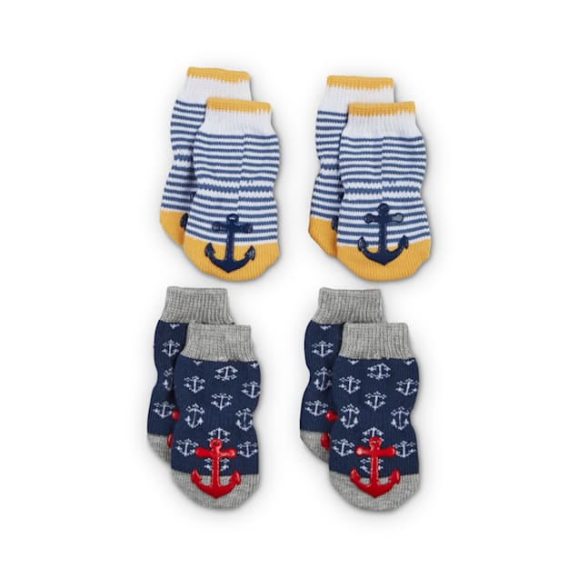 Bond & Co. Cozy Sailor Nautical Dog Socks, Small - Carousel image #1