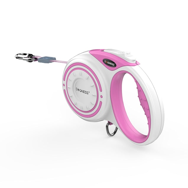 "Dogness Fashion Retractable Pink/White Leash, 6"" L - Carousel image #1"