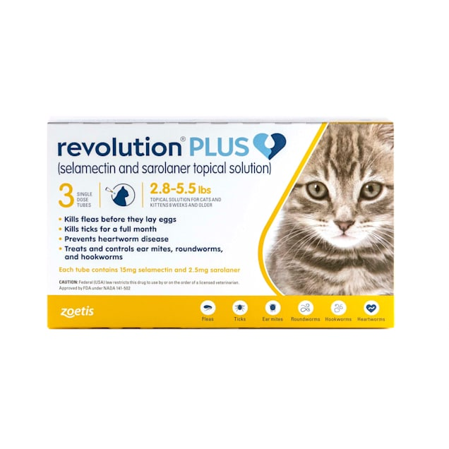 Revolution Plus Topical Solution 2.8-5.5lbs Cat, 3 Month Supply - Carousel image #1