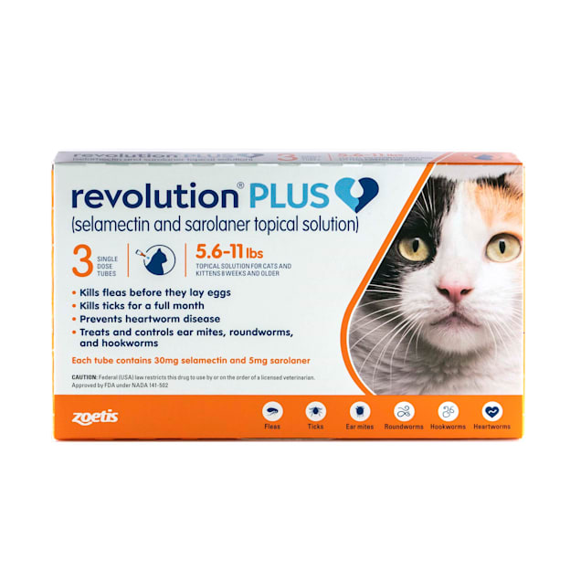 Revolution Plus Topical Solution 5.6-11lbs Cat, 3 Month Supply - Carousel image #1