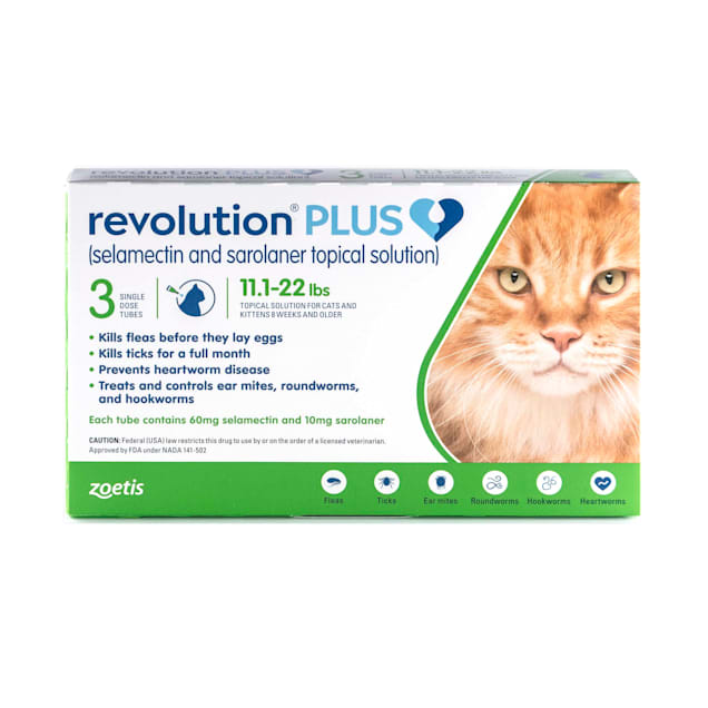 Revolution Plus Topical Solution 11.1-22lbs Cat, 3 Month Supply - Carousel image #1