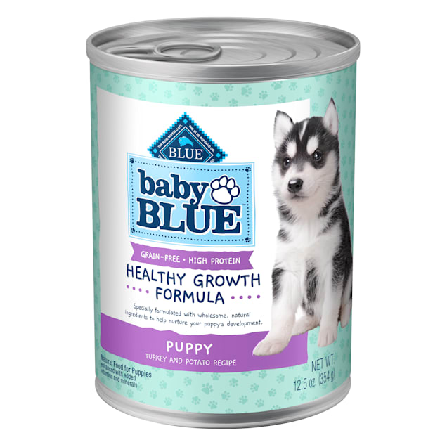 Blue Buffalo Baby Blue Grain Free High Protein Natural Turkey and Potato Wet Puppy Food, 12.5 oz., Case of 12 - Carousel image #1