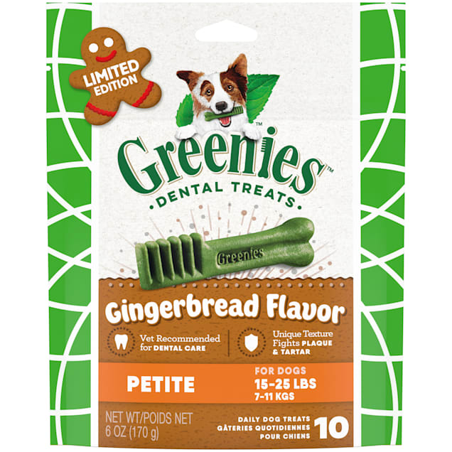 Greenies Petite Gingerbread Flavor Great Holiday Stocking Stuffers Dental Dog Treats, 6 oz., Pack of 10 - Carousel image #1