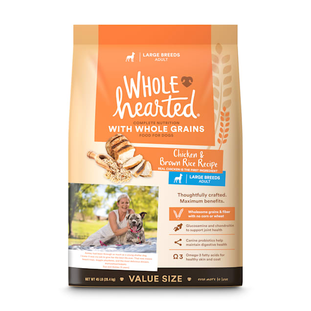 WholeHearted Adult Large-Breed Chicken & Brown Rice Recipe with Whole Grains Dry Dog Food, 45 lbs. - Carousel image #1