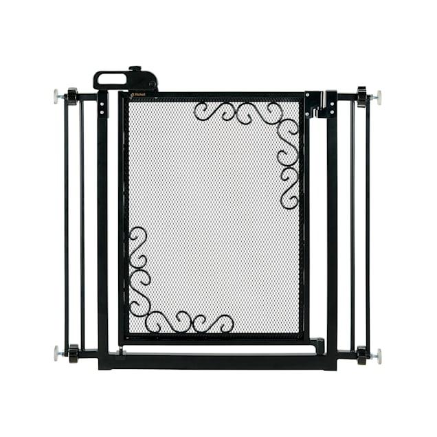 "Richell One-Touch Metal Mesh Black Pet Gate, 36.5"" L X 2.4"" W X 32"" H - Carousel image #1"