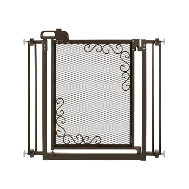 """Richell One-Touch Metal Mesh Gray Gate for Dogs, 36.5"""" L X 2.4"""" W X 32"""" H - Carousel image #1"""