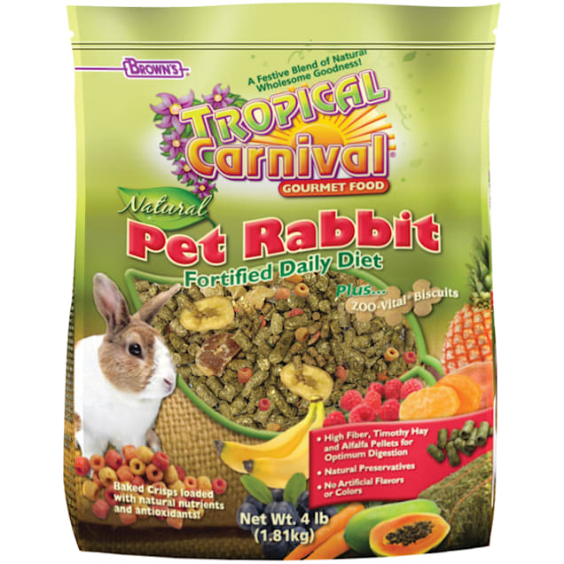 Brown's Tropical Carnival Natural Pet Rabbit Fortified Daily Diet Food, 4 lbs. - Carousel image #1