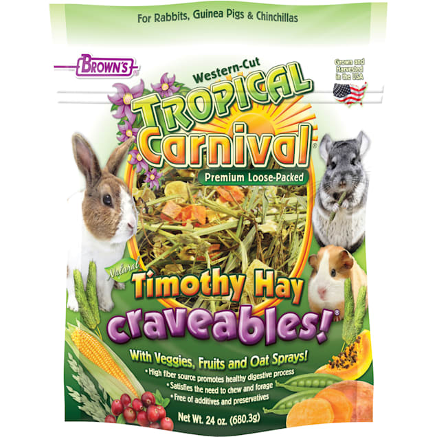 Brown's Tropical Carnival Timothy Hay Craveables with Veggies, Fruit & Oat Sprays for Small Animals, 24 oz. - Carousel image #1