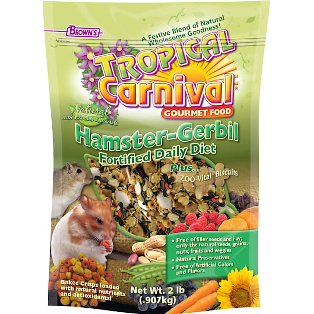 Brown's Tropical Carnival Natural Hamster & Gerbil Fortified Daily Diet Food, 2 lbs. - Carousel image #1