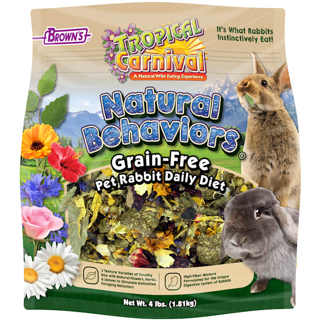 Brown's Tropical Carnival Natural Behaviors Grain-Free Pet Rabbit Daily Diet Food, 4 lbs. - Carousel image #1