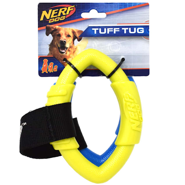 Nerf Blue/Green 2-Ring Strap Tug Dog Toy, Small - Carousel image #1