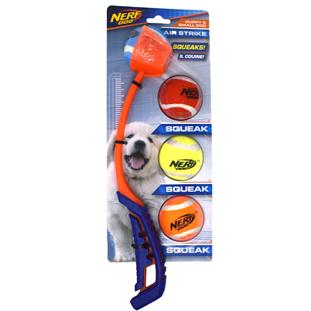 "Nerf Air Strike Launcher with 2"" Squeak Tennis Balls Dog Toy, Small, Pack of 4 - Carousel image #1"