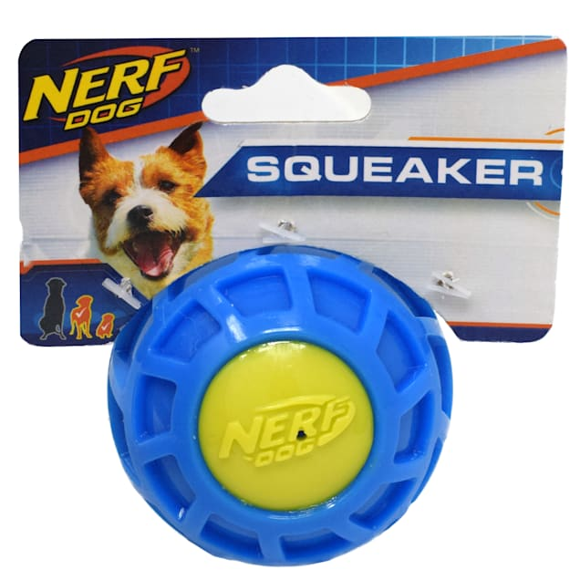 Nerf Blue/Green TPR EXO Squeak Ball Dog Toy, Small - Carousel image #1