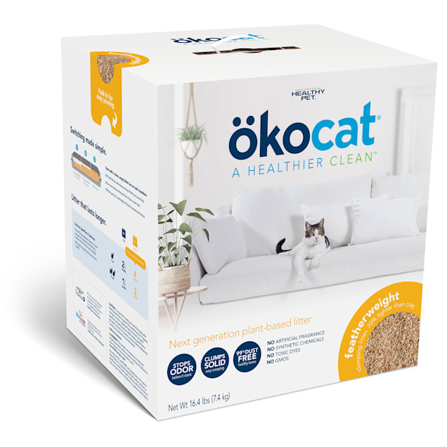 Okocat Unscented Featherwieght Clumping Wood Cat Litter, 16.4 lbs. - Carousel image #1