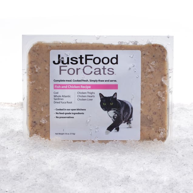 JustFoodForDogs Daily Diets Fish & Chicken Frozen Cat Food, 18 oz. - Carousel image #1