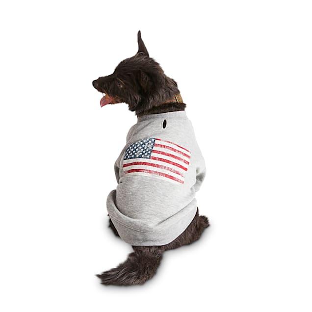Reddy American Flag Dog Graphic Crewneck Sweatshirt, Large - Carousel image #1