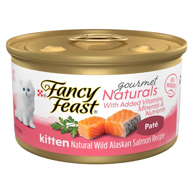 Purina Fancy Feast Grain Free Gourmet Naturals Wild Alaskan Salmon Recipe Pate Wet Kitten Food, 3 oz., Case of 12 - Carousel image #1